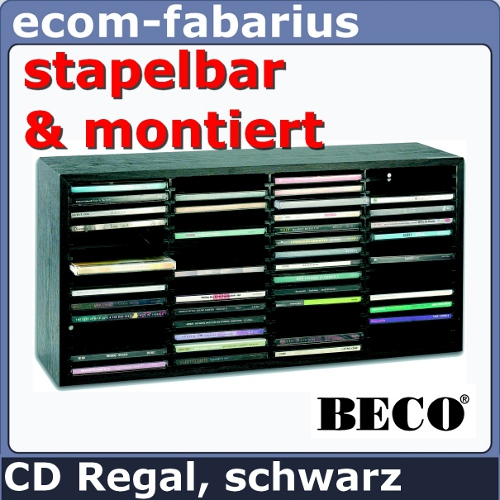 beco cd regal rack schrank 60 cds aufbewahrung holzregal schwarz medien cd box ebay. Black Bedroom Furniture Sets. Home Design Ideas